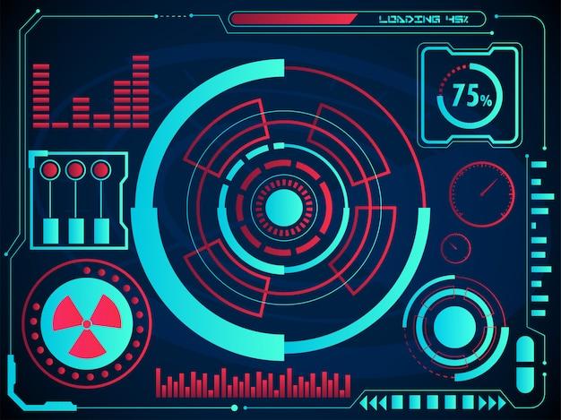 Gráficos digitais ou interface de usuário do radar e tela de holograma do gráfico sobre fundo azul para o conceito futurista de hud infographic.