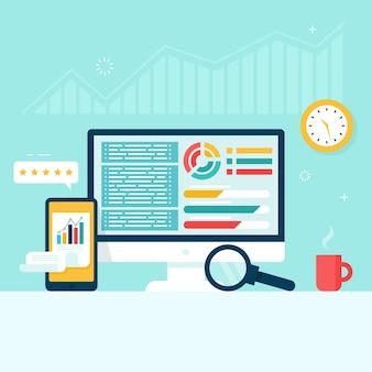 Gráficos e tabelas no monitor e na tela do telefone. contabilidade, conceito de relatório financeiro.