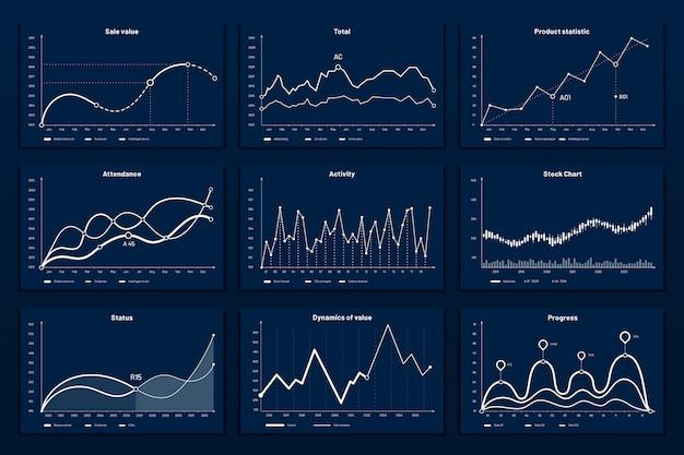 Gráficos gráficos de dados. gráfico de coordenadas de matemática, gráficos de gráfico de crescimento e conjunto de ilustração de gráficos de infográfico de negócios