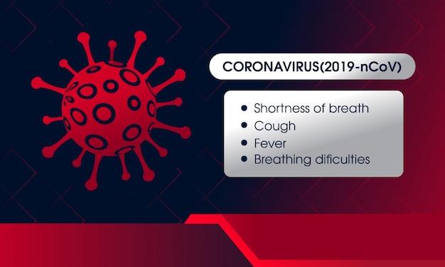 Gráficos, sinais e sintomas de informação de vírus corona
