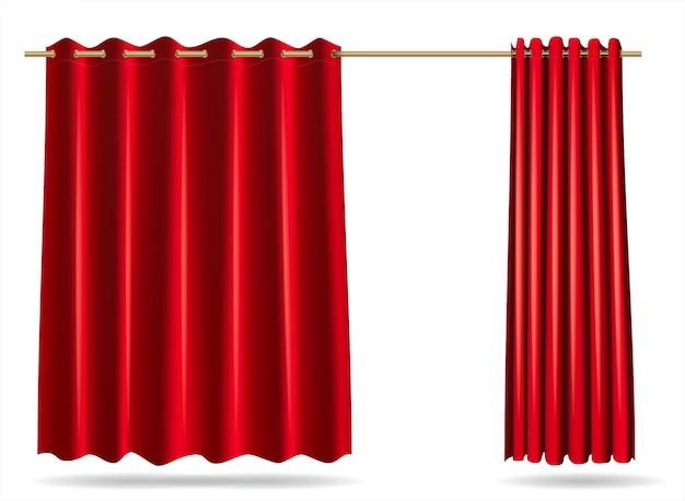 Gráficos vetoriais . conjunto de cortinas vermelhas para vestiários de armários de loja, hospital