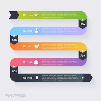 Gráficos vetoriais de informação colorida para suas apresentações de negócios. pode ser usado para informação gráfica, vetor de layout gráfico ou web site, banners numeradas, diagrama, linhas de recorte horizontal, design web.