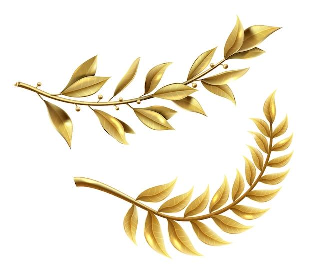 Gráficos vetoriais. o ramo de louro dourado faz parte da coroa do vencedor. conjunto de modelo realista clássico