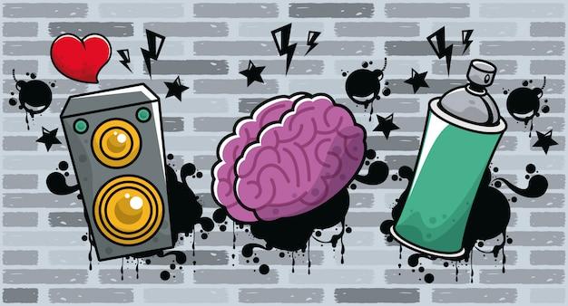 Grafite de estilo urbano com frasco de spray de tinta e cérebro