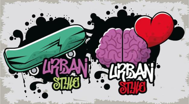 Grafite de estilo urbano com skate e cérebro