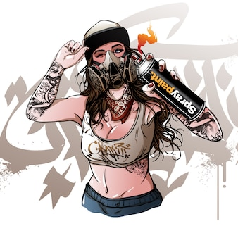 Grafite de pintura jovem garota vector
