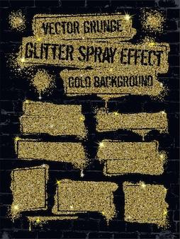 Grafite de tinta spray glitter em parede de tijolos