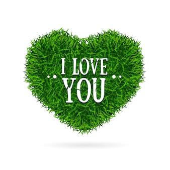 Grama bandeira coração te amo cartão de conceito dos namorados. ilustração vetorial