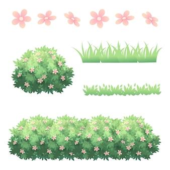 Grama de arbustos e decoração de flores