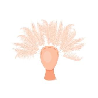 Grama de pampa seca em um vaso decoração interna da cabeça do vaso