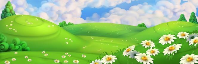 Grama de primavera com flores