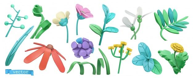 Grama de primavera e flores. desenho animado.
