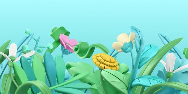 Grama de primavera e flores. estilo dos desenhos animados.