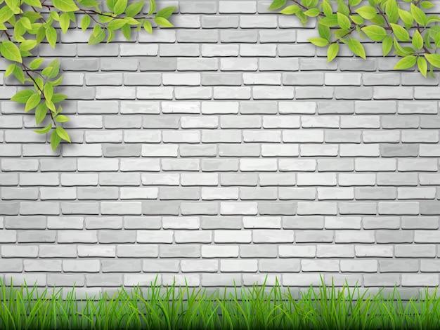 Grama e galhos de árvores no fundo da parede de tijolo branco.