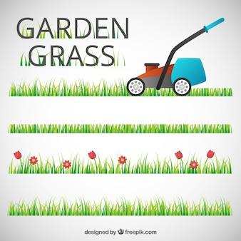 Grama jardim com um cortador de grama