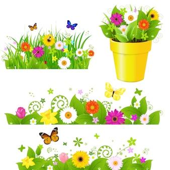 Grama verde com conjunto de flores, isolado no fundo branco.