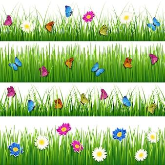 Grama verde com flores e borboletas Vetor Premium