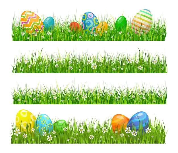 Grama verde de páscoa com ovos e flores
