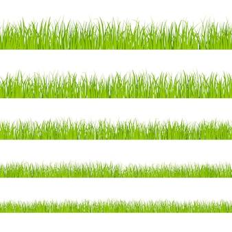 Grama verde. gramados paisagísticos, clipart de bordas de prados. formas isoladas de pastagem orgânica ou objetos de jardim