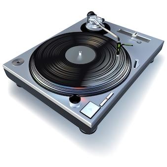 Gramofone de dj com disco de vinil
