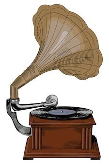Gramofone de madeira vintage antigo com disco e alto-falante.