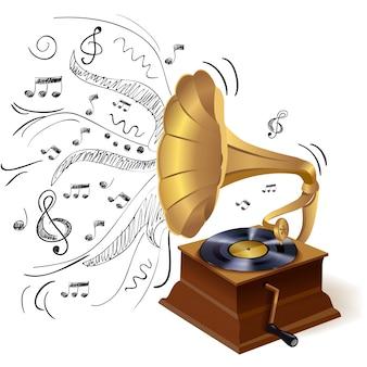 Gramofone de música doodle