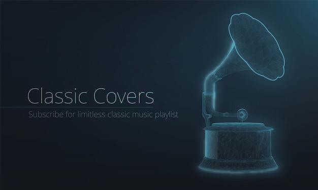 Gramofone estilizado de estrutura de arame de luz neon. efeito brilhante. polígonos do plexo, página de destino ou modelo de banner