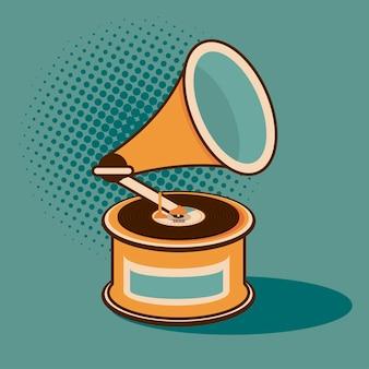 Gramofone vinil player antigo estilo retrô