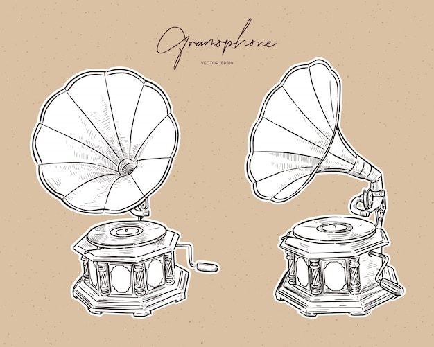 Gramofone-vintage mão desenhada