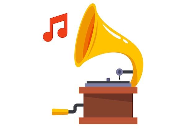 Gramofone vintage toca música clássica em um fundo branco. ilustração plana