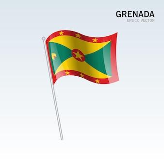 Granada agitando bandeira isolada em cinza