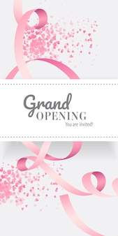 Grand opening você está convidado a rotular com fita rosa