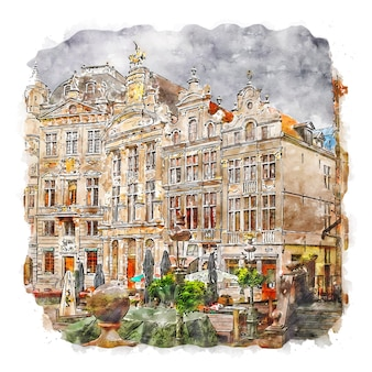 Grand place belgium ilustração em aquarela de esboço desenhado à mão