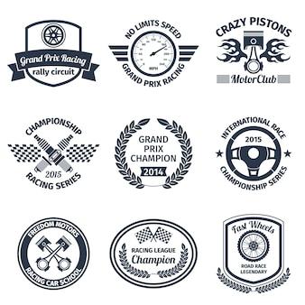 Grand prix corrida pistões loucos motorclub emblemas pretos conjunto isolado ilustração vetorial
