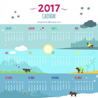 Grande 2017 calendário com cães