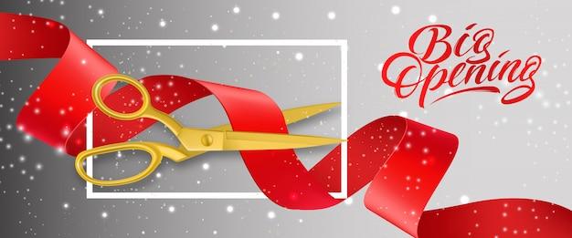 Grande abertura banner cintilante com tesoura de ouro, corte a fita vermelha no quadro
