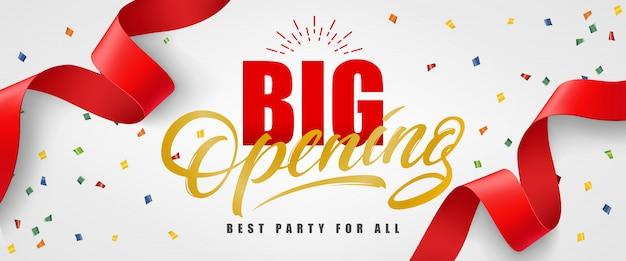 Grande abertura, melhor festa para todo banner festivo com confete e flâmula vermelha