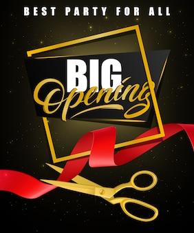 Grande abertura, melhor festa para todos os cartazes festivos com moldura de ouro e tesoura de ouro
