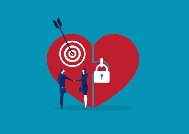 Grande amor com o coração trancado e as pessoas apertam a mão