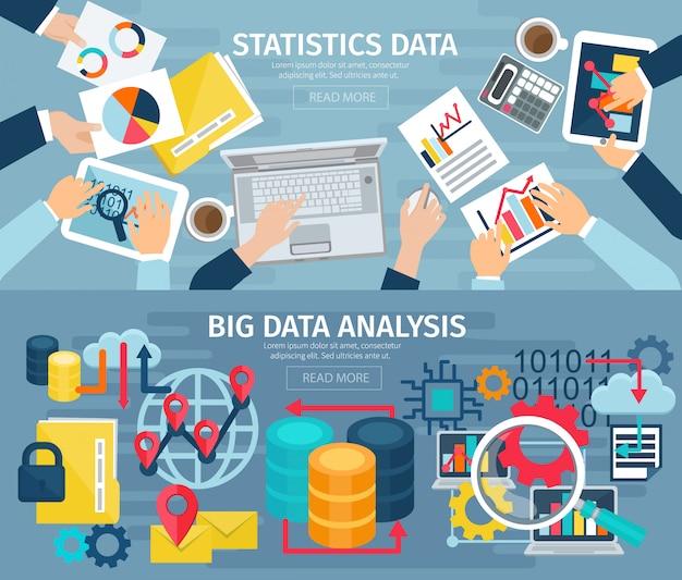 Grande análise de dados e sistemas estatísticos de banco de dados 2 banners planos