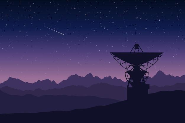 Grande antena de um radiotelescópio nas montanhas à noite observatório pesquisa ilustração vetorial