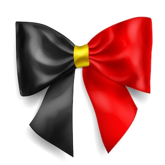 Grande arco feito de fita nas cores da bandeira da bélgica com sombra no fundo branco