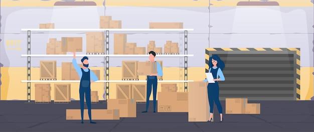 Grande armazém com gavetas. movers carregam caixas. a garota com a lista verifica a disponibilidade. caixas de papelão. o conceito de transporte, entrega e logística de mercadorias. vetor.
