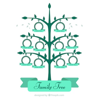 Grande árvore de família em tons verdes
