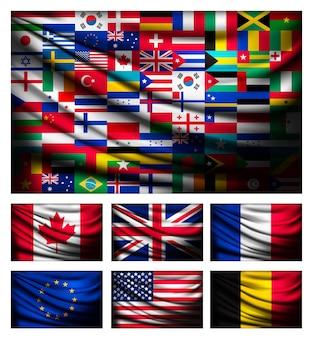 Grande bandeira feita de bandeiras do mundo.