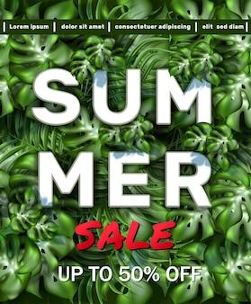 Grande banner de venda de verão com moldura de folhas tropicais