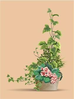Grande belo arbusto de plantas diferentes com flores cor de rosa em um vaso de flores isolado em um fundo quente.