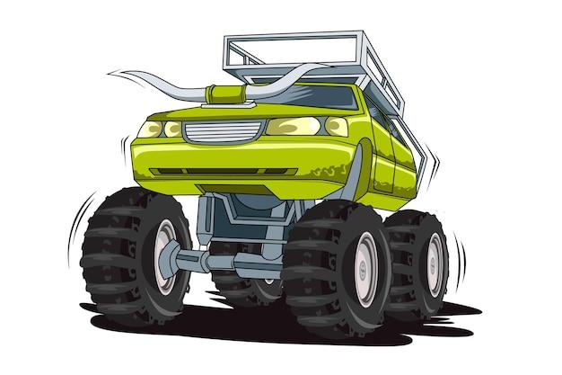 Grande caminhão monstros mão desenho ilustração mão desenho