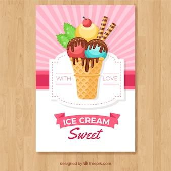 Grande carta com sorvete e xarope de chocolate