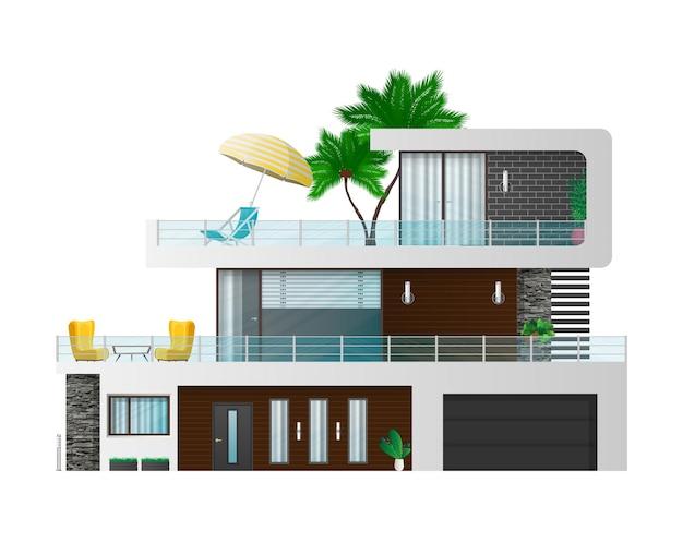 Grande casa moderna de três andares. casa de campo, casa da cidade com sombras. visualização arquitetônica do chalé externo.